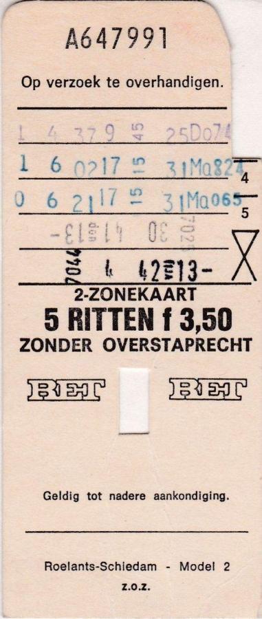 RET 1976 5 rittenkaart 2 zones zonder overstap 3,50 (2) -a