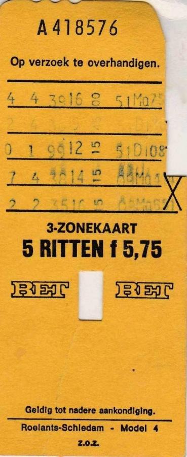 RET 1976 5 rittenkaart 3 zones 5,75 (4) -a