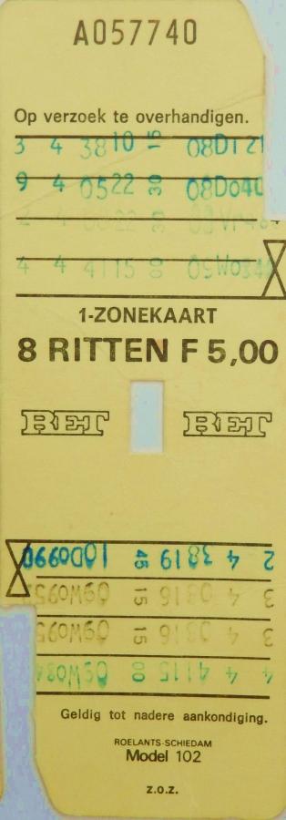 RET 1976 8 rittenkaart 1-zone 5,00 (102) -a
