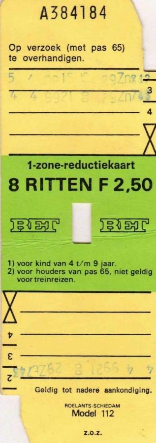 RET 1976 8 rittenkaart 1 zone reductie 2,50 (112) -a