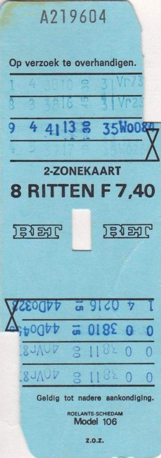 RET 1976 8 rittenkaart 2 zones 7,40 (106) -a