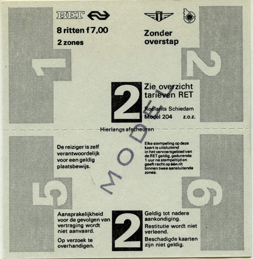 RET 1976 8 rittenkaart 2 zones zonder overstap 7,00 (204) -a