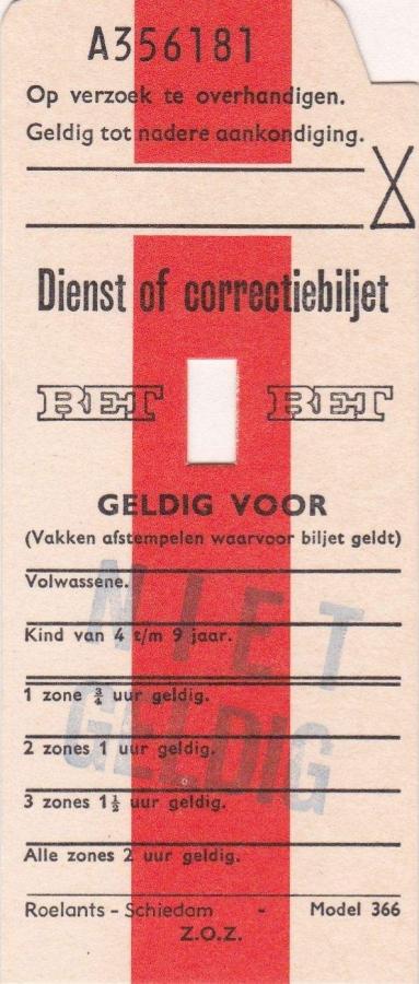 RET 1976 Dienst of correctiebiljet (366) -a