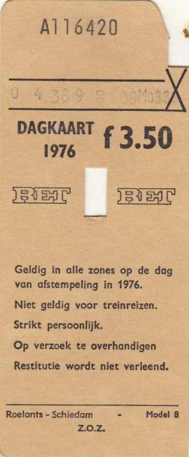 RET 1976 dagkaart alle zones 3,50 (8) -a