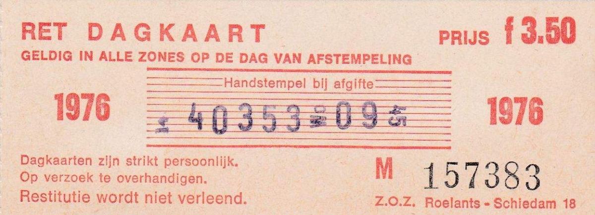 RET 1976 dagkaart gehele lijnennet 3,50 (18) -a