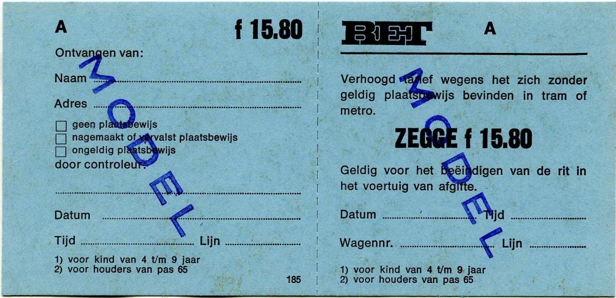 RET 1976 plaatsbewijs verhoogd tarief 15,80 (185) -a