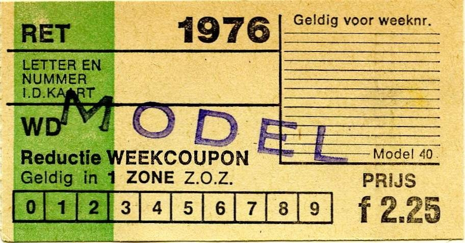 RET 1976 reductie weekcoupon 1-zone 2,25 (40) -a