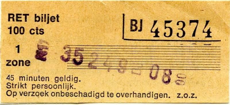 RET 1977 1-zone biljet 100 cts -a