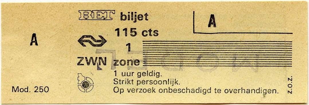 RET 1977 1 zone biljet 115 cts (250) -a