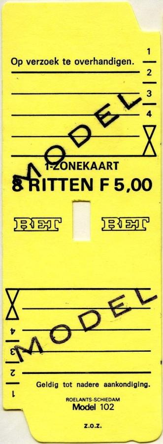 RET 1977 1 zone-kaart 8 ritten 5,00 (102) -a
