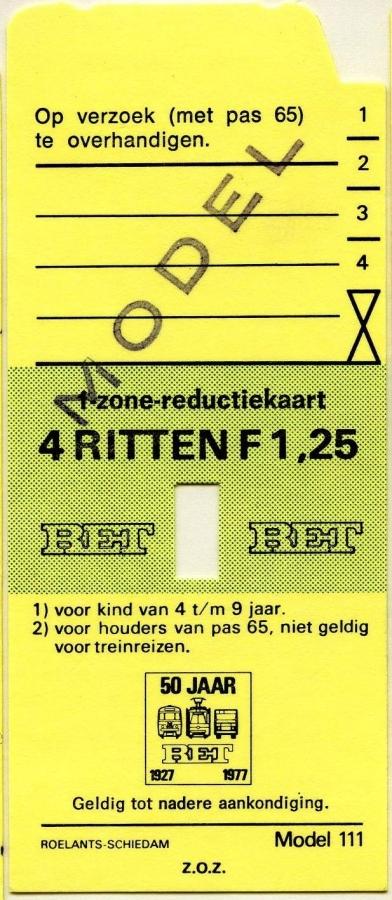 RET 1977 1 zone-reductiekaart 4 ritten 1,25 (111) -a