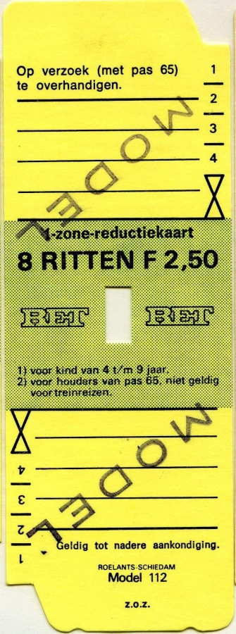 RET 1977 1 zone-reductiekaart 8 ritten 2,50 (112) -a