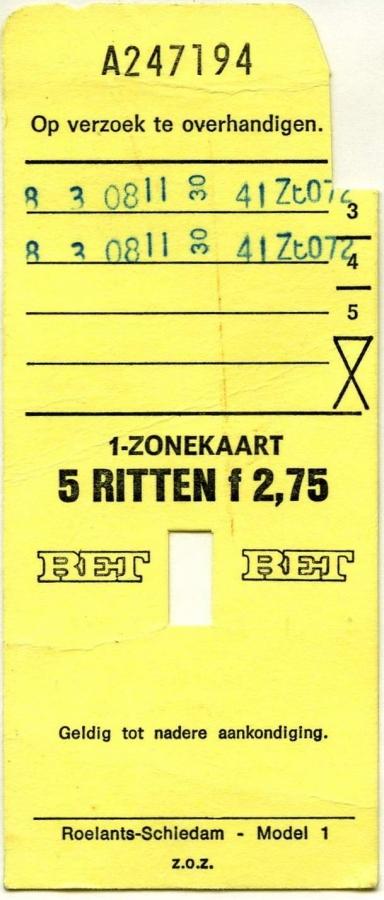 RET 1977 1-zonekaart 5-ritten 2,75 (1) -a