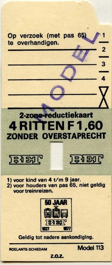 RET 1977 2 zone-reductiekaart 4 ritten 1,60 (113) -a
