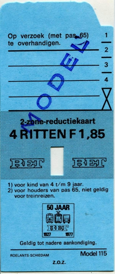 RET 1977 2 zone-reductiekaart 4 ritten 1,85 (115) -a