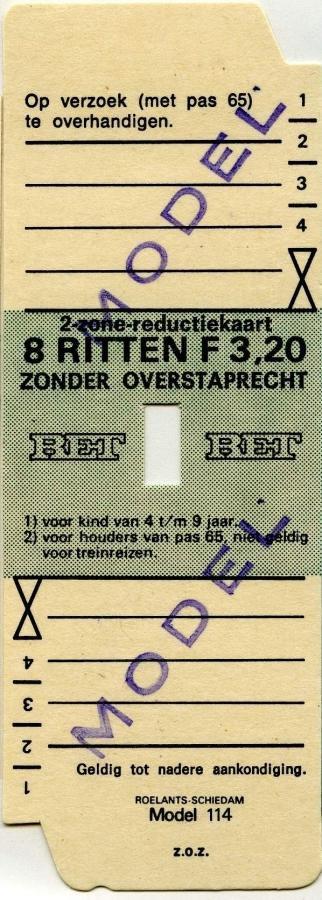 RET 1977 2 zone-reductiekaart 8 ritten 3,20 (114) -a