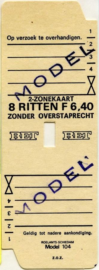 RET 1977 2 zonekaart 8 ritten 6,40 (104) -a