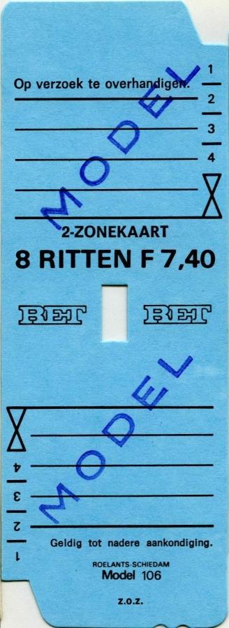 RET 1977 2 zonekaart 8 ritten 7,40 (106) -a