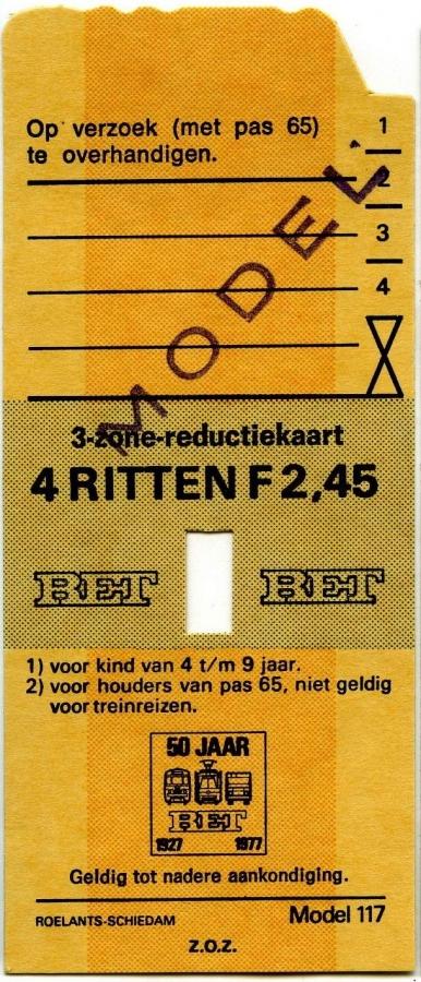 RET 1977 3-zone reductiekaart 4 ritten 2,45 (117) -a
