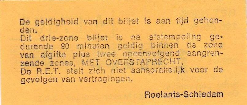 RET 1977 3 zones biljet achterzijde 190 cts -a
