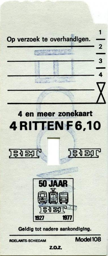 RET 1977 4-meerzonekaart 4 ritten 6,10 (108) -a