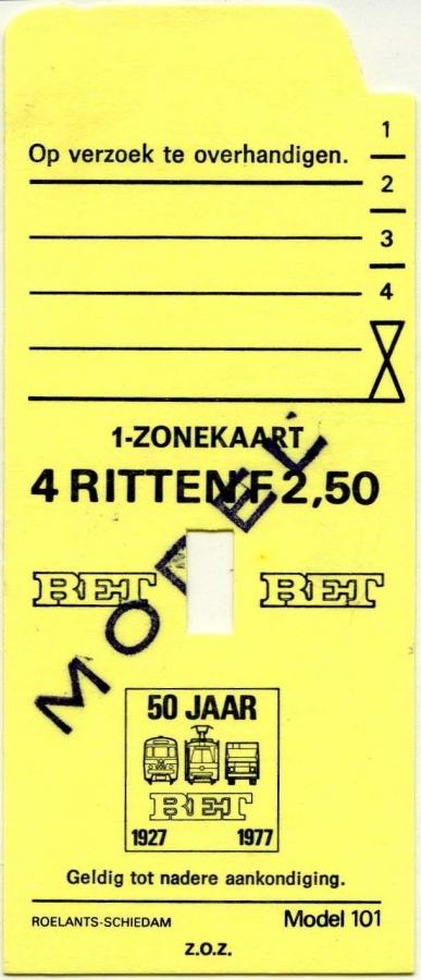 RET 1977 4 rittenkaart 1 zone 2,50 (101) -a