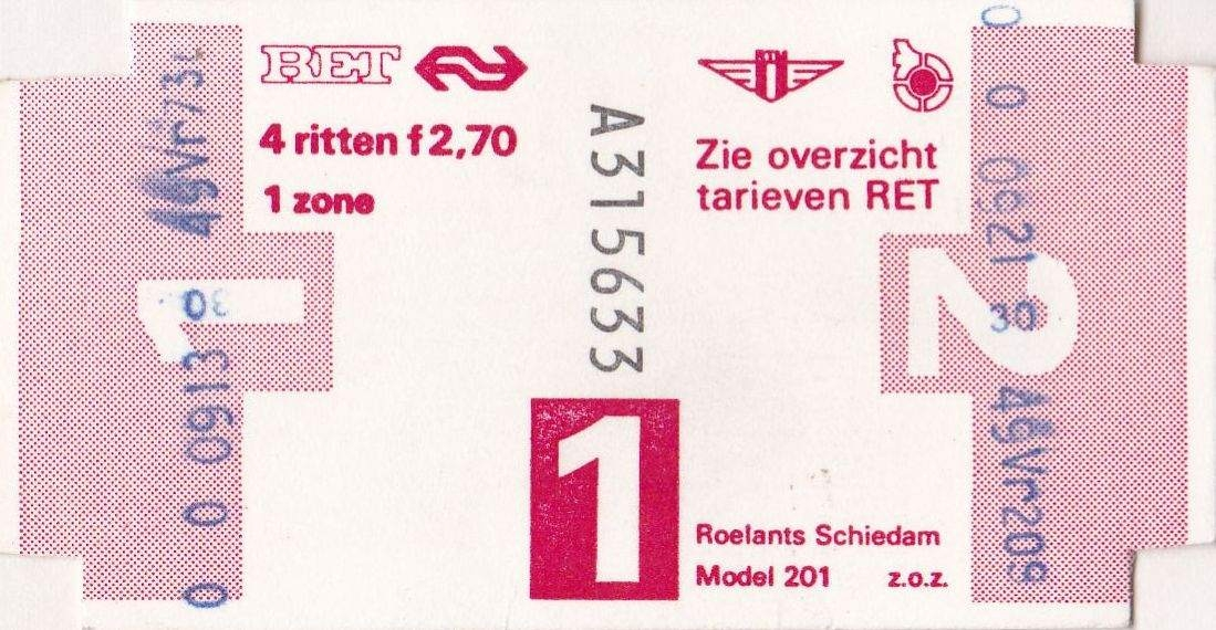 RET 1977 4 rittenkaart 1 zone 2,70 (201) -a