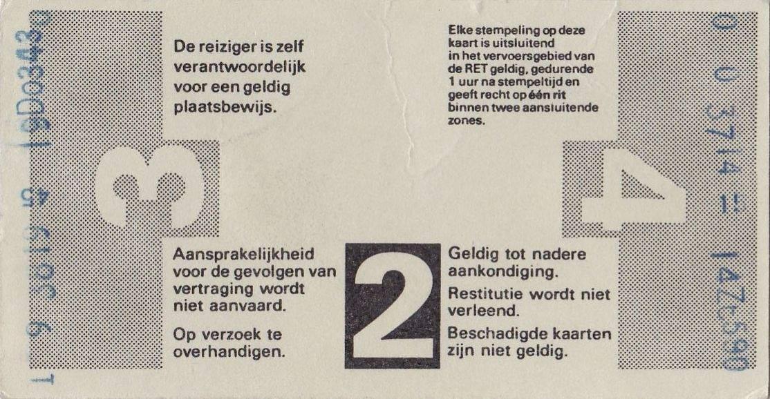 RET 1977 4-rittenkaart 1 zone achterzijde 2,70 -a