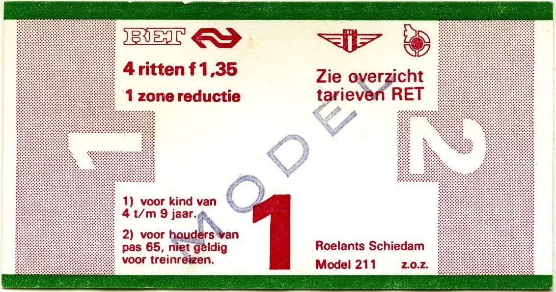 RET 1977 4 rittenkaart 1 zone reductie 1,35 (211) -a
