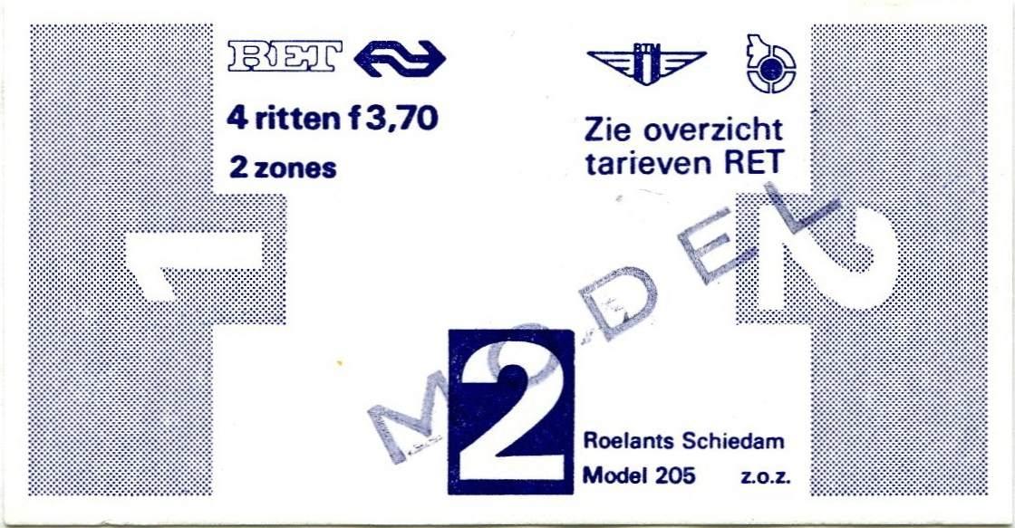 RET 1977 4 rittenkaart 2 zones 3,70 (205) -a