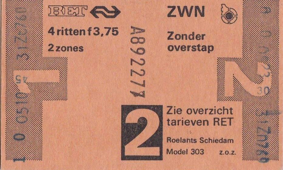 RET 1977 4 rittenkaart 2 zones 3,75 (303) -a