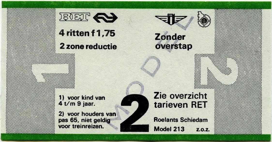 RET 1977 4 rittenkaart 2 zones reductie 1,75 (213) -a