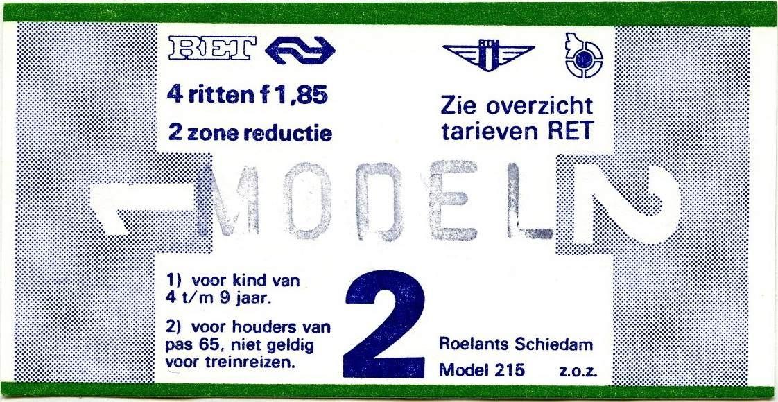 RET 1977 4 rittenkaart 2 zones reductie 1,85 (215) -a