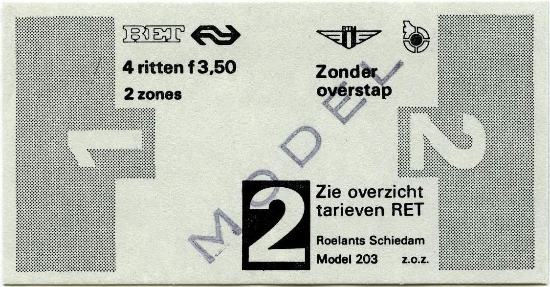 RET 1977 4 rittenkaart 2 zones zonder overstap 3,50 (203) -a