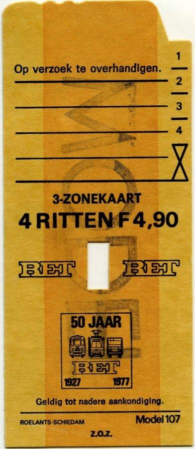 RET 1977 4 rittenkaart 3 zones 4,90 (107) -a