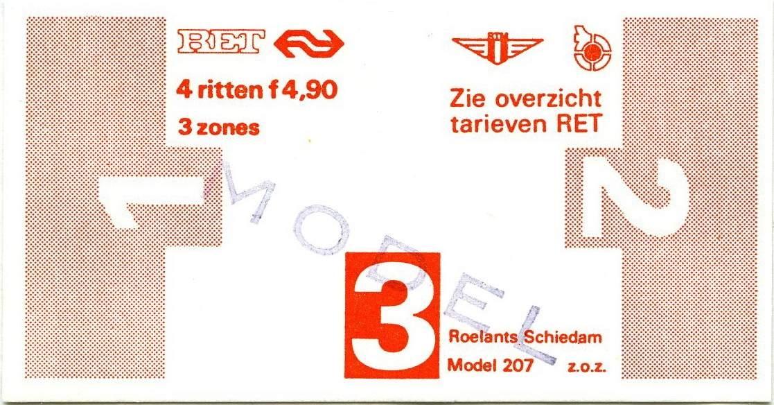 RET 1977 4 rittenkaart 3 zones 4,90 (207) -a
