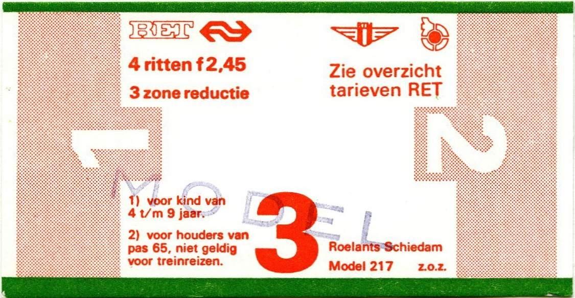 RET 1977 4 rittenkaart 3 zones reductie 2,45 (217) -a