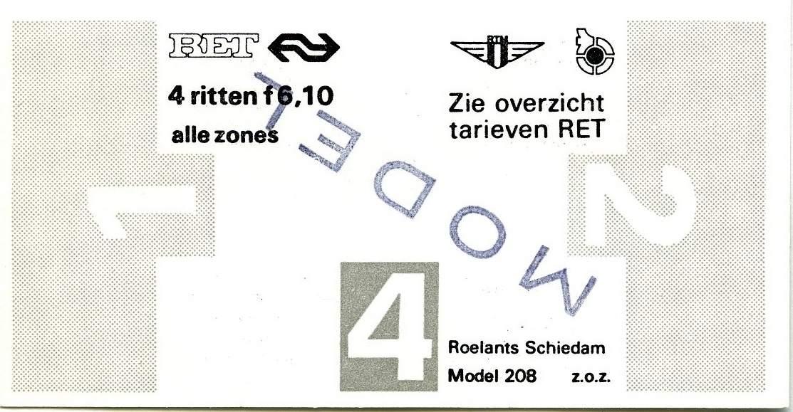 RET 1977 4 rittenkaart alle zones 6,10 (208) -a