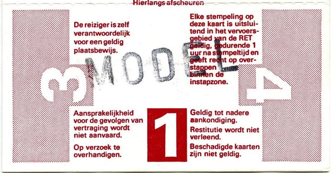RET 1977 4 rittenkaart alle zones 6,10 achterzijde (208) -a