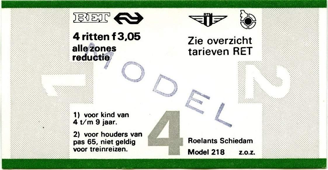 RET 1977 4 rittenkaart alle zones reductie 3,05 (218) -a