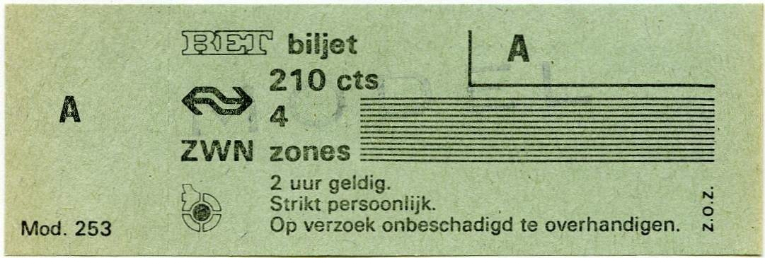 RET 1977 4 zones biljet 210 cts (253) -a