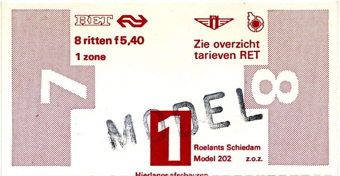 RET 1977 8 rittenkaart 1 zone 5,40 (202) (1) -a