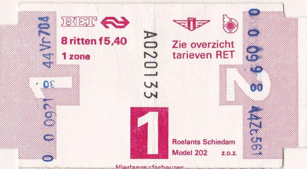 RET 1977 8 rittenkaart 1 zone 5,40 (202) -a