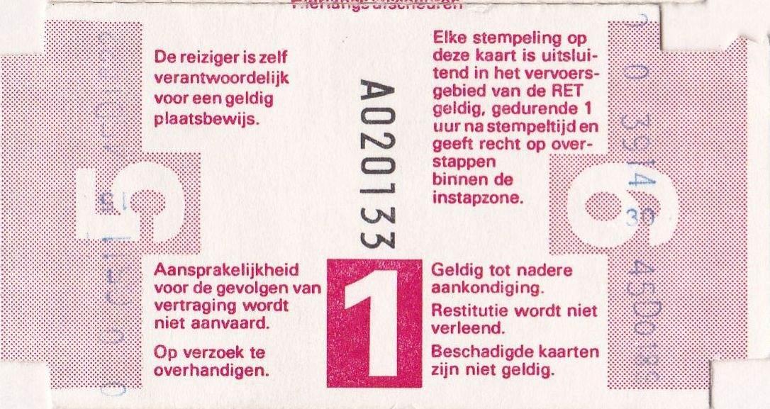 RET 1977 8-rittenkaart 1 zone 5,40 achterzijde -a
