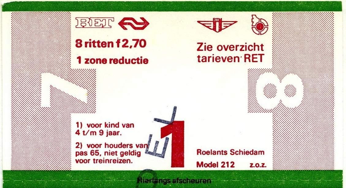 RET 1977 8 rittenkaart 1 zone reductie 2,70 (212) -a