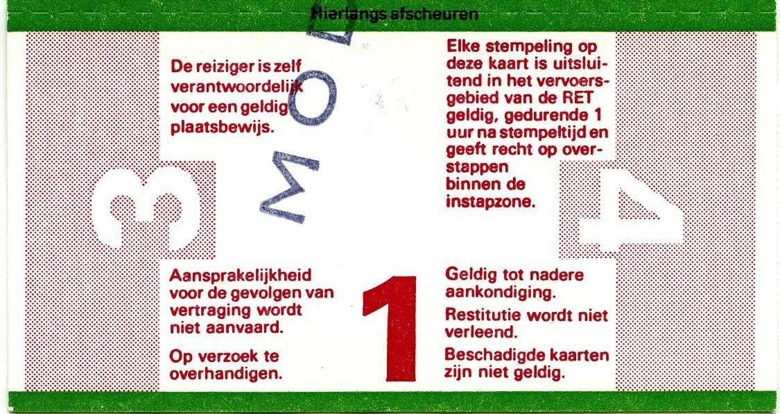RET 1977 8 rittenkaart 1 zone reductie 2,70 achterzijde (212) -a