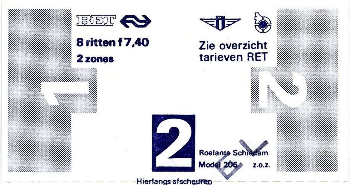 RET 1977 8 rittenkaart 2 zones 7,40 (206) -a