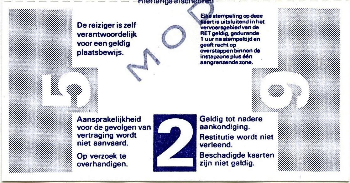 RET 1977 8 rittenkaart 2 zones 7,40 achterzijde (206) -a