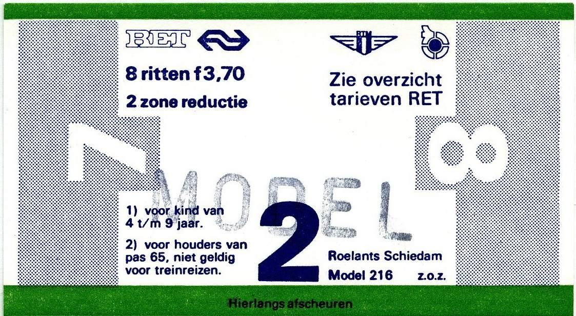 RET 1977 8 rittenkaart 2 zones reductie 3,70 (216) -a