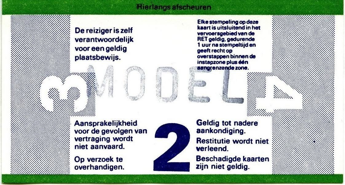 RET 1977 8 rittenkaart 2 zones reductie achterzijde 3,70 (216) -a
